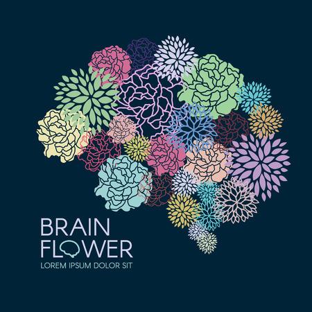 Piękna Flora Mózg kwiaty streszczenie ilustracji wektorowych Ilustracje wektorowe