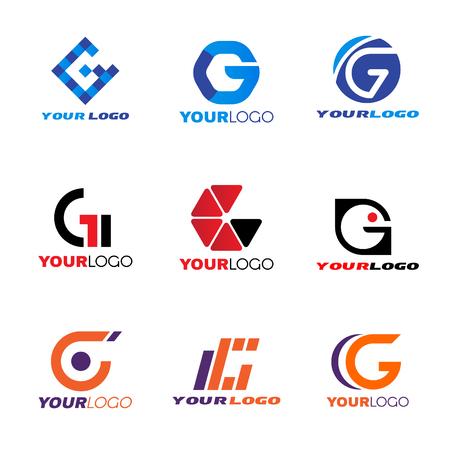 cuadrados: establecer letra G logotipo de diseño vectorial
