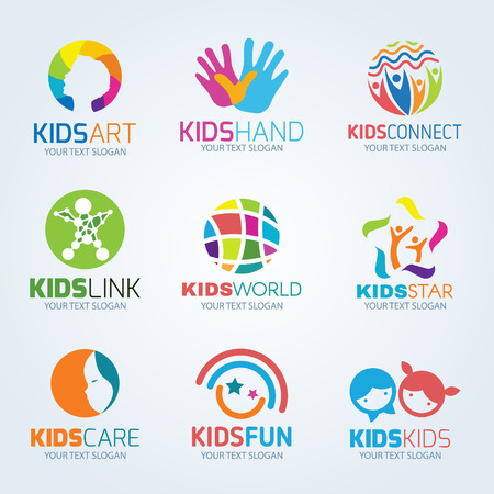 love and friendship: Kids child logo vector set design