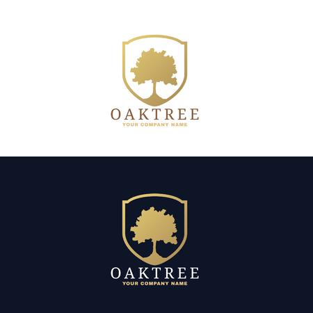 roble arbol: El oro y el diseño del árbol de roble de color azul oscuro vector logo