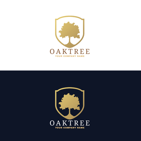 tree silhouettes: Gold and dark blue Oak tree logo vector design