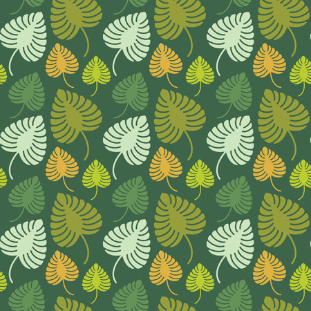 seamless floral pattern: Green orange palm leaves pattern background vector design