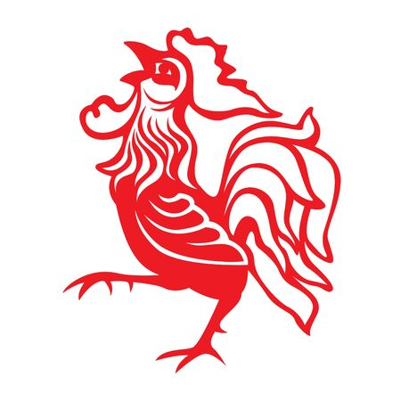 Red paper cut a chicken rooster zodiac symbols