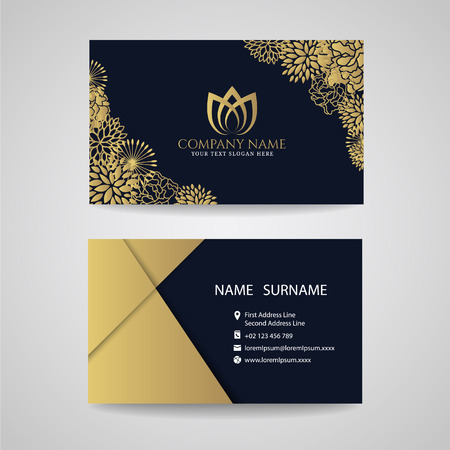 hotel resort: Business card - gold floral frame and lotus logo and gold paper on dark blue background