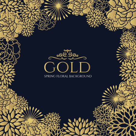 Gold floral frame on dark blue background vector art design