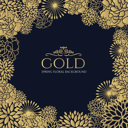 Marco floral de oro sobre fondo azul oscuro del diseño del arte del vector