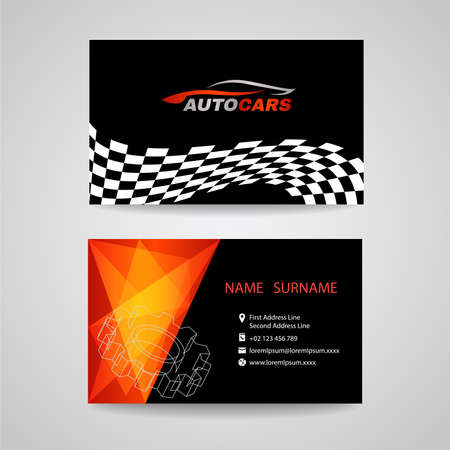 auto service: Business card vector design for transportation car racing sport and Car wash or auto car or engineer car Illustration