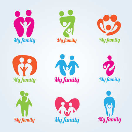 abstract family: My family people modern logo vector design