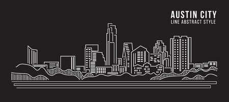 manhattan skyline: Cityscape Building Line art Vector Illustration design - Austin city