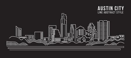 sky line: Cityscape Building Line art Vector Illustration design - Austin city