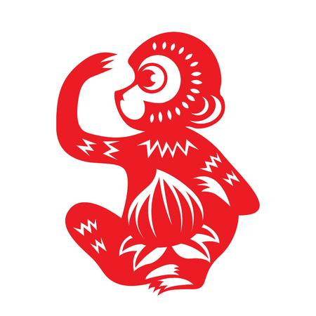 cut paper: Red paper cut monkey zodiac symbol monkey holding peach