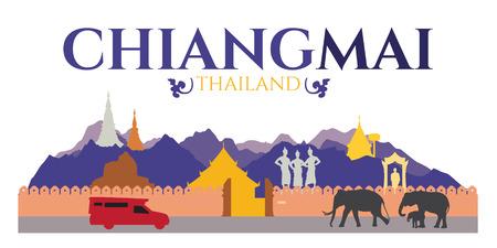タイのチェンマイ市 - 観光とドイ ステープなど traval 場所ター ペー ゲートと寺院と象  イラスト・ベクター素材