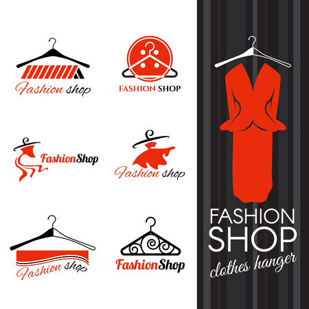 hangers: Fashion shop logo - Clothes hanger and studs dress vector design