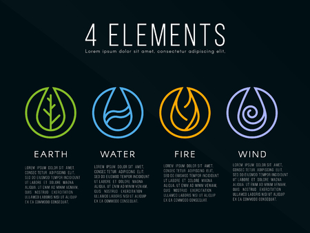 Nature 4 elements icon sign. Water, Fire, Earth, Air. on dark background. Vettoriali