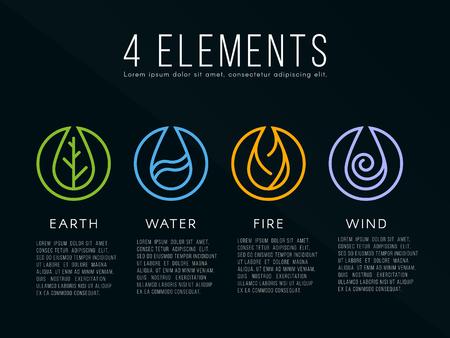 elemento: Natura 4 elementi icona segno. Acqua, Fuoco, Terra, Aria. su sfondo scuro.