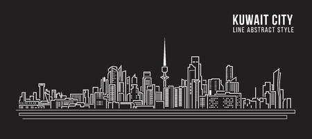 kuwait: Cityscape Building Line art Vector Illustration design - kuwait city