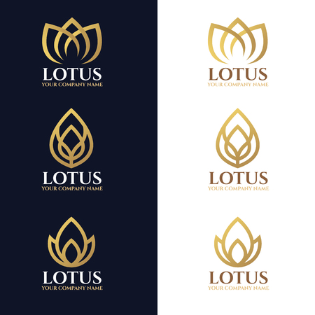 lotus flower: Gold lotus logo symbols on white and dark blue background vector design