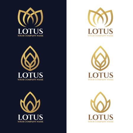 Złote lotosu logo symbole na białym i ciemnym niebieskim tle wektora projektowania