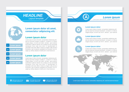 Layout template size A4 Front page and back page  Blue Vector  design 矢量图像