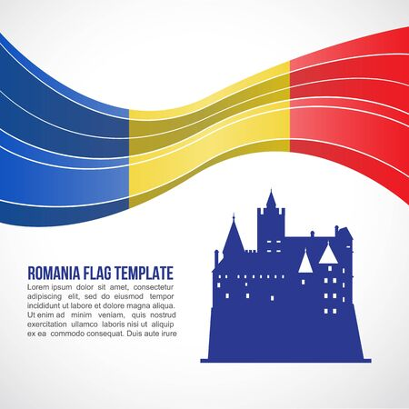bran: Romania flag wave and Bran Castle in Transylvania vector Template