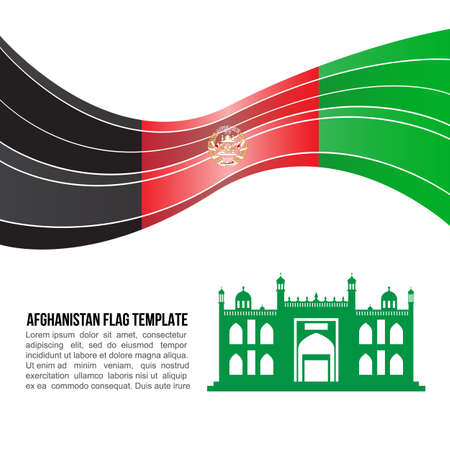 cleric: Afghanistan flag wave and Mazar-I-Sharif, Shrine of Hazrat Ali vector template Illustration
