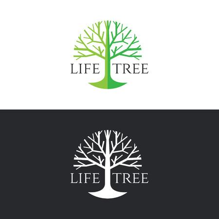 vida natural: diseño de la vida del árbol del círculo del logotipo del vector - el tono árbol verde sobre fondo blanco y el árbol blanco sobre fondo gris oscuro