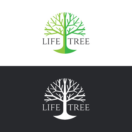 tree silhouettes: Life tree logo circle vector design - green tree tone on white background and white tree on dark grey background