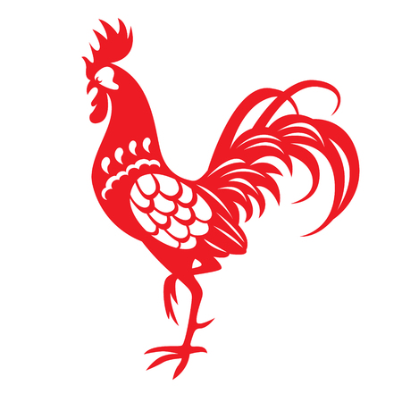 Rood papier knippen een kip zodiac symbols