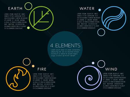 자연 4 요소 로고 기호입니다. 물, 불, 흙, 공기. 어두운 배경에.