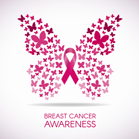 cancer symbol: Breast cancer awareness with Butterfly sign and pink ribbon vector illustration