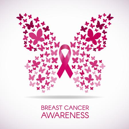 conciencia del cáncer de mama con el signo de la mariposa y la cinta de ilustración vectorial de color rosa