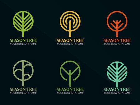 Saison ligne d'arbre Cercle logo illustration vectorielle scénographie