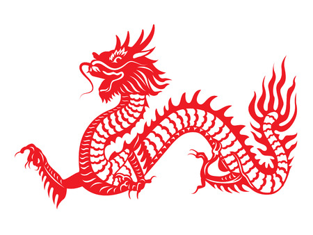 Red paper cut out of a Dragon china zodiac symbols