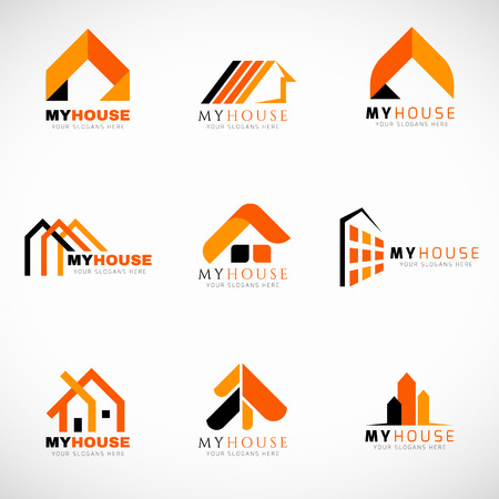 오렌지와 블랙 하우스 로고 설정 벡터 디자인