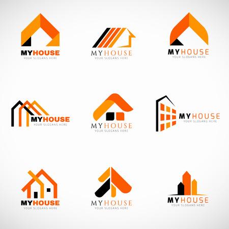 logotipo de construccion: Naranja y Negro Casa logotipo de diseño de conjunto de vectores Vectores
