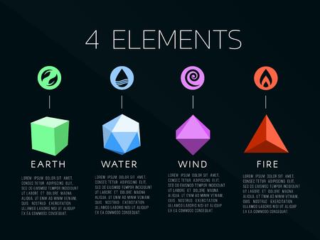 自然 4 要素ロゴと結晶に署名します。水、火、地球、空気。 暗い背景。