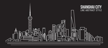 property of china: Cityscape Building Line art Vector Illustration design - Shanghai city Illustration