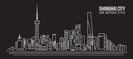 Cityscape Building Line art Vector Illustration design - Shanghai city Çizim