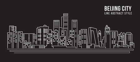 cityscape silhouette: Cityscape Building Line art Vector Illustration design - Beijing city