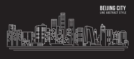 Cityscape Building Line art Vector Illustration design - Beijing city