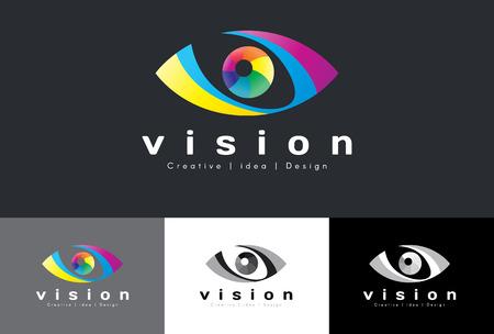 globo ocular: Insignia del ojo del vector - el tono colorido arco iris es la visión media idea y el diseño creativo Vectores