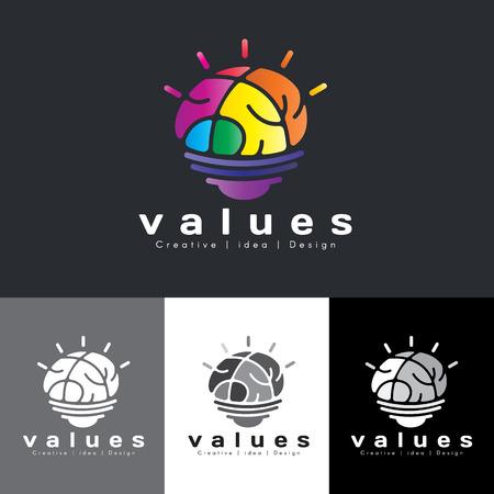 creative brain: Brain lamp logo vector - rainbow colorful tone is mean value creative idea and design