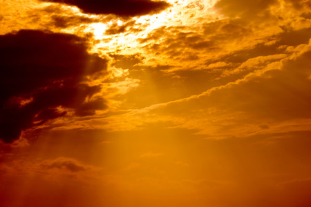 time to shine: Orange Sun shine and cloud in evening time