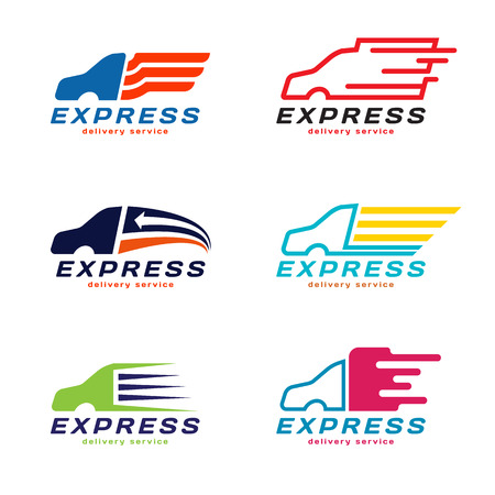 Truck Car Express delivery service Logo.  vector set design