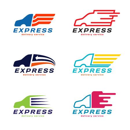 transport: Ciężarówka samochodów ekspresowe usługi kurierskie Logo. Zestaw wektora projektowania