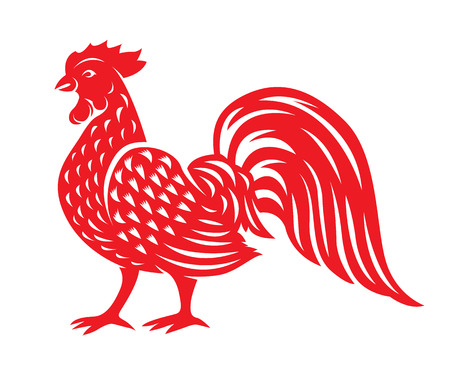 cut paper: Red paper cut a chicken rooster zodiac symbols