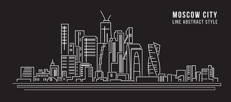 property of china: Cityscape Building Line art Vector Illustration design - moscow city Illustration
