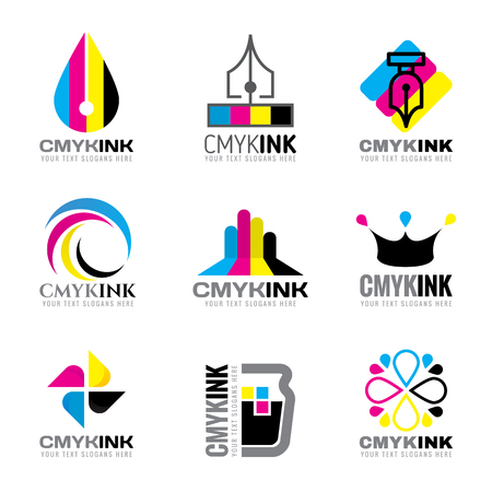 CMYK ink logo vector set design- cyan and magenta and yellow and keyblack color
