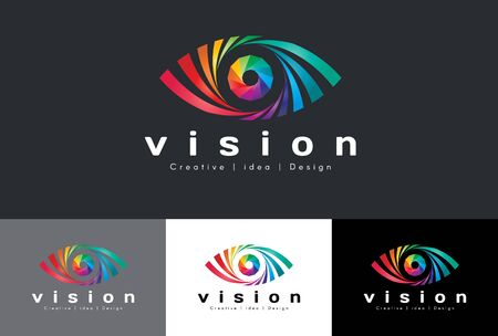 arte optico: Insignia del ojo del vector - el tono colorido arco iris es la visión media idea y el diseño creativo Vectores