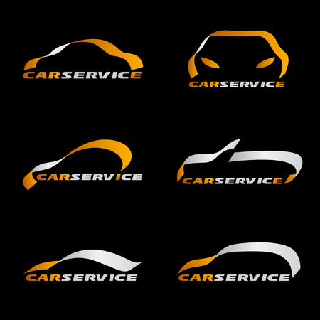 Yellow and silver ribbon line car logo vector set design on black background Illustration
